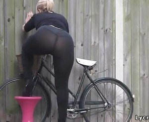 Sexy big ass in transparent lycra leggings tights & thong