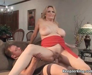 Incredible blonde MILF with big boobs