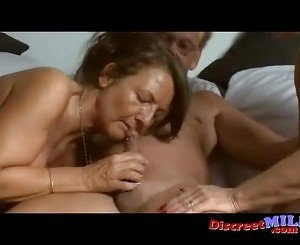 Mature German couple and MILF have threesome