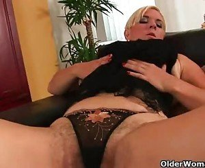 Busty soccer mom with hairy pussy and ass needs to get off