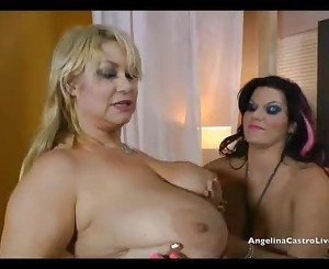 Big Titted Angelina Castro Threeway Strapon Fucking!