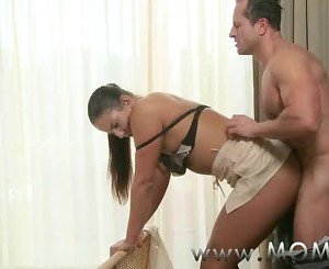MOM Horny Brunette MILF gets creamed