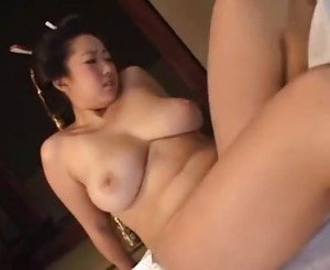 Busty asian milf with a samurai