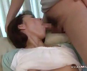 Milf Fingering Herself While Giving Blowjob For Young Guy Cum To Mouth Spitting
