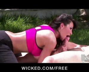 Big-tit brunette cougar rides her yoga instructor's hard cock