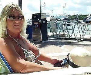 Aged MILF gladly enjoys multiples of orgasms during outdoor sex
