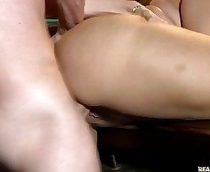 Busty MILF gets banged by the billiard table